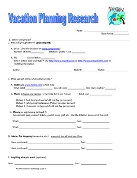 Plan a Vacation - PBL Using MS Word, Excel & Publisher | Distance Learning