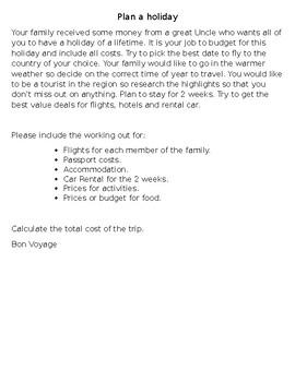 Plan a family holiday activity.