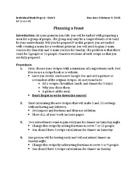 Plan a feast - Decomposing and Addition with Fractions