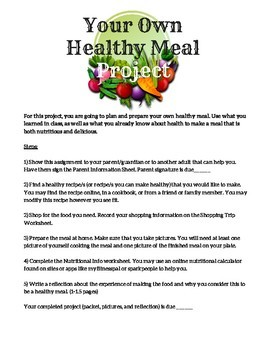 Plan and Prepare A Healthy Meal Project for Health or Life Skills Class