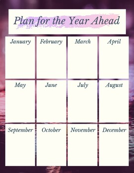 Plan for the Year Ahead