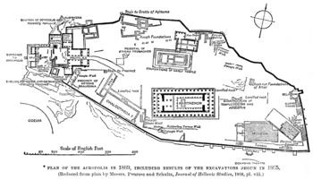 Plan of ancient Athens' Acropolis