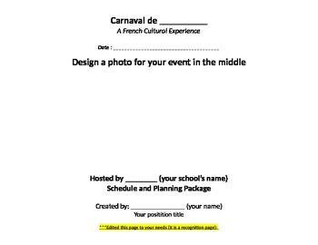 Plan your own Carnaval (French Carnival)