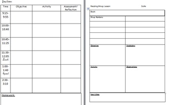 Planbook and Reading Group Form