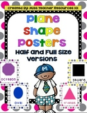 2-D (Plane) Shapes - Full and Half Size Posters with Large Colorful Polka Dots