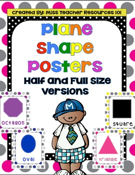 2-D (Plane) Shapes - Full and Half Size Posters with Large