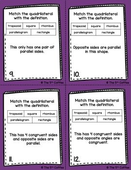 Plane Figures, Combining, and Subdividing Polygons Task Cards