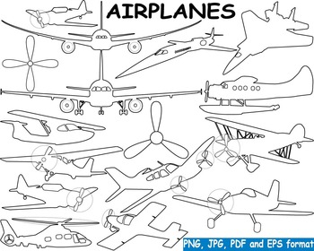 Plane Outline Aviation Airplanes clip art black shape mili