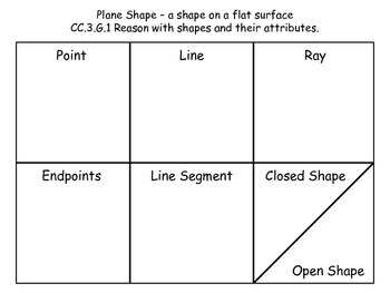 Plane Shape, Line, Ray Math Worksheet - CCRS