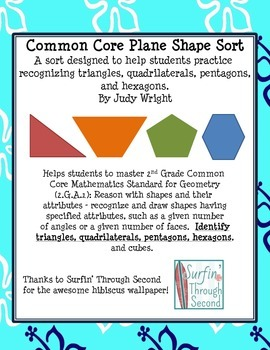 Plane Shape Sort: Triangles, Quadrilaterals, Pentagons, and Hexagons