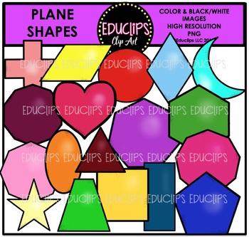 Plane Shapes Super Clip Art Bundle {Educlips Clipart}
