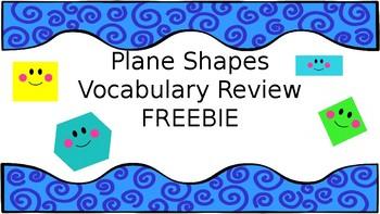Plane Shapes Vocabulary Review FREEBIE