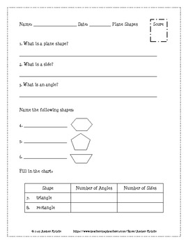 Plane Shapes and Solids Pre and Post Tests (Common Core Aligned) *WITH ANSWERS*