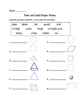 Plane and Solid Shapes Review, Virginia SOL 3.14
