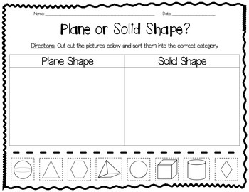 Plane or Solid Shape Sort Freebie