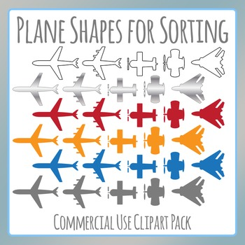 Planes / Air Planes / Aeroplanes Shapes for Sorting Clip Art for Commercial Use