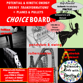 Potential & Kinetic Energy, Energy Transformations, Planes/Pulleys CHOICEs BOARD