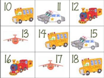 Planes, Trains, & Automobiles Calendar Cards abcd pattern