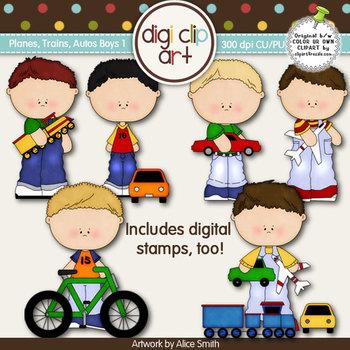 Planes, Trains and Autos Boys 1-  Digi Clip Art/Digital Stamps - CU Clip Art