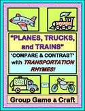 """Planes, Trucks, and Trains!"" - Transportation Group Game and Craft"