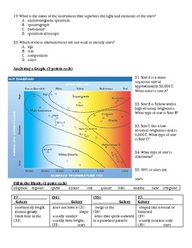 Planet Distances, Stars and Galaxies Science Study Guide and Test