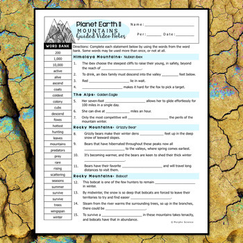 Planet Earth 2 - Mountains - Guided Video Notes Worksheet