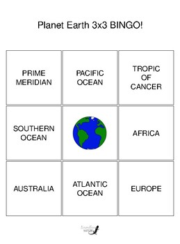 Planet Earth 3 by 3 BINGO!