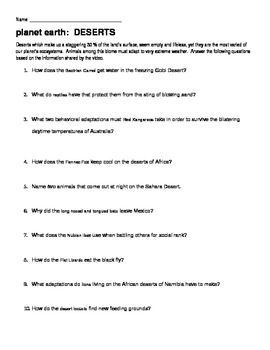 Planet Earth Desert Video Guide Worksheet