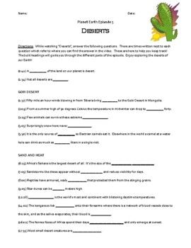 Planet Earth - Deserts Video Worksheet