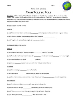 Planet Earth - From Pole to Pole Video Worksheet