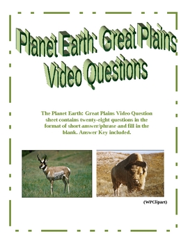 Planet Earth: Great Plains Video Questions