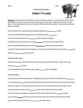 Planet Earth - Great Plains Video Worksheet