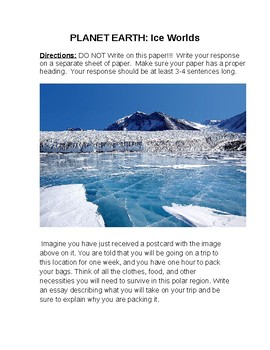 Planet Earth Ice Worlds Reading Prompt and Scavenger Hunt