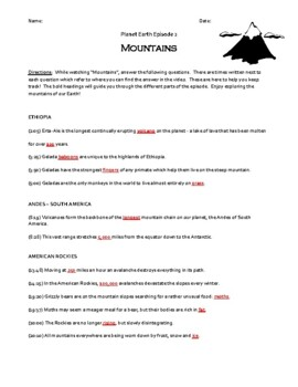 Planet Earth - Mountains Video Worksheet