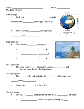 Planet Earth Notes Outline Lesson Plan