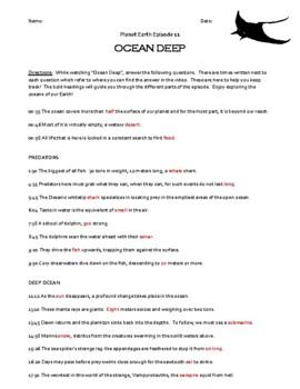 Planet Earth - Ocean Deep Video Worksheet