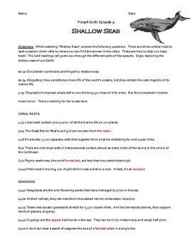 Planet Earth - Shallow Seas Video Worksheet