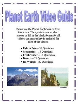 planet earth video questions part 1 by amy kirkwood tpt. Black Bedroom Furniture Sets. Home Design Ideas