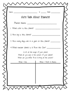Planet Info Worksheet