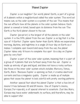 Planet Jupiter Reading Comprehension Activity