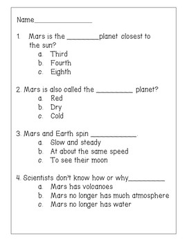 Planet Mars Reading Comprehension Activity