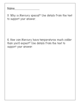 Planet Mercury Reading Comprehension Activity