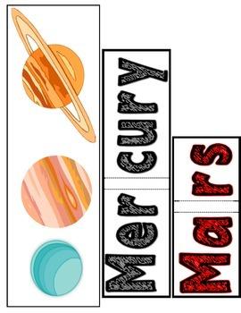 Planet Name & Size Puzzles (color)