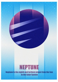 Planet Neptune Poster ( Solar System ) size A4