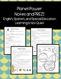 Planet Notes PREZI PRESENTATION and Notes Sheet (English, Spanish, SPED)