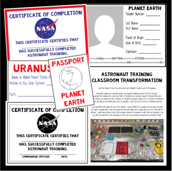 Planet Passport and Astronaut Training Certificate