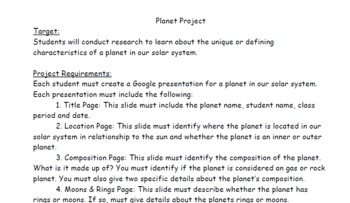 Planet Presentation Project