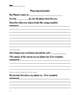 Planet Project with Rubric
