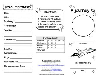 planet brochure template - planet research brochure by ms rothering teachers pay