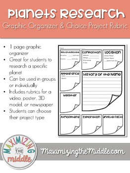 Planet Research Graphic Organizer and Choice Project